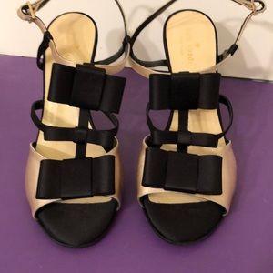 Kate spade size 9 open toed sling back heels /bows